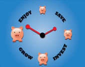 Piggy bank symbols and a clock symbol. — Stock Photo