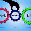 Balance gear in between work and life gears — Stock Vector
