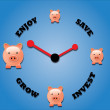 Stock Vector: Piggy bank symbols and clock symbol.