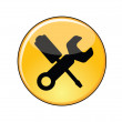 Illustration of Love for video games Concept: A Glossy or Shiny Yellow Manage Settings Button with a screw driver and a spanner — Stock Vector #26183737