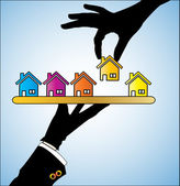 Illustration concept of Buying Home Customer Selecting a bright colored House of choice from a set of different houses offered to him by the real estate agent — Vettoriale Stock