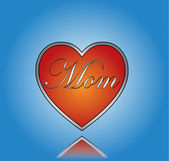 Love Mom concept Illustration With red heart with a dark blue graident background — Stock Vector