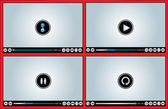 Web or Internet based Glossy Video Player different versions - Buffering, Play, Pause and Replay illustration with different buttons (Like, watch later, HD, Full Screen Mode, Volume Control) — Stock Vector