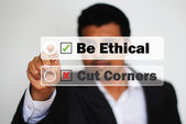 Male Professional Choosing to be ethical instead of cutting corners by Clicking on a bright White Button — Stok fotoğraf