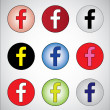 Nice different social media representation of letter F (Red, White, Black, yellow, blue, pink, white, green and dark blue) — Stockfoto