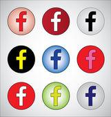 приятно отличается представление социальные медиа из буква f (красный, белый, черный, желтый, синий, розовый, белый, зеленый и темно-синий) — Стоковое фото