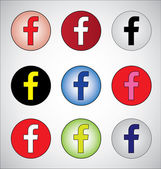 Nice different social media representation of letter F (Red, White, Black, yellow, blue, pink, white, green and dark blue) — 图库照片