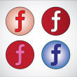 Stock Photo: Four different social media representation of letter F (Gradient Blue, Red, White, Pink)