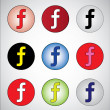 Nice different social media representation of letter F (Red, White, Black, yellow, blue, pink, white, green and dark blue) — Stock Photo