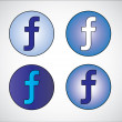 Four different social media representation of letter F (Gradient Blue, Dark Blue, White, Light Blue) — Stock Photo