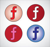 Four different social media representation of letter F (Gradient Blue, Red, White, Pink) — Stock Photo
