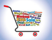 Shopping Cart Illustration: Mega or Big Weekend Sale Shopping Cart Banner with all key texts related to Sale — Stock Photo
