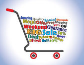 Shopping Cart Illustration: Mega or Big Weekend Clearance Sale Shopping Cart Banner with all key texts related to Sale — Stock Photo