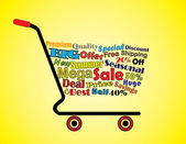 Shopping Cart Illustration: Mega or Big Summer Sale Shopping Cart Banner with all key texts related to Sale — Stock Photo