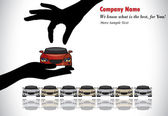 Best Car Sale or Car Key Concept Illustration : A hand silhouette choosing red colored car offered by the sales rep from a number of cars display for sale — Stockfoto