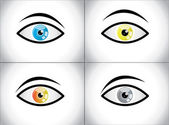 Different Colored Eye Combination concept illustration Set: Clam, Angry, Scared, Thoughtful Eyes with different eyeball colors — Stock Photo