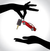 Car Sale or Car Key Concept Illustration : Two hand silhouettes exchanging red colored car with automatic key — Stock Photo