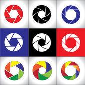Digital SLR Camera Shutter set or Circular colorful pattern set — Stock Photo