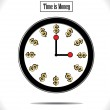 Time is Money Concept Illustration: Using a round wall clock and golden colored dollar sign replacing each hour. — Stock Photo