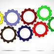 Team work or success concept design vector illustration art - different colorful cog wheels or gears next to each other with bright white background — Stock Photo