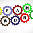 Team work text inside colorful gears placed next to each other with a bright white background - concept design vector illustration art — Stock Photo