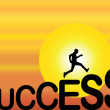 A fit healthy man running up the big success text silhouette with a bright orange evening sky with big yellow sun in the background — Stock Photo