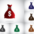 Colorful money bag set collection with different currencies - american dollar, british sterling pound, swiss francs, euro, japanese yen and indian rupees - concept design vector illustration art — Stock Photo