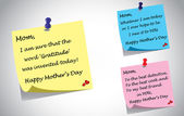 Different colorful happy mothers day quotes post it note set. three unique creative quotes by kids thanking mother using color postit notes - relationship gratitude concept illustration collection — Stock Photo