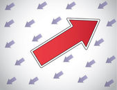 Colorful red arrow moving up opposite direction to other arrows — Stock Photo
