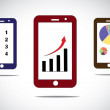 Mobile business progress charts and arrow infographics icons. different mobile business success based infographic concept images with arrow, bar and pie charts and to do list - concept illustration — Stock Photo