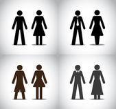 Well dressed man woman or boy girl standing concept symbols set. different black colorful simple male and female standing icons (simple, professional, party and holiday) collection set — Stock Photo