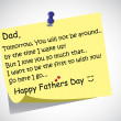 Unique happy fathers day post it note text greetings concept. A touching and lovely fathers day wishes written by little son or daughter the day before on a simple post it note. — Stock Vector