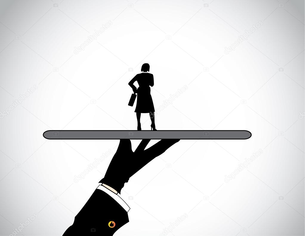 hand silhouette presenting dressed professional business w a a head hunter presenting the best well dressed female candidate or business person perfectly suited for the job or work vector by harishmarnad