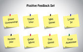 Simple unique positive feedback text post it notes collection set. Thank you, loved it, well done, truly amazing, perfect job, great work, too good, simply outstanding positive feedback text concept — Stock Vector
