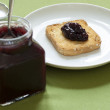 Close-up view of handmade jam on melba toast - Stock Photo