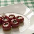 Close-up view of stuffed red hot peppers — Stock Photo #22206403