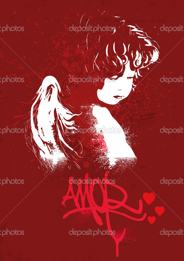 Angel on a red background — Stock Vector #21712917