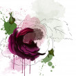 Stock Photo: Purple rose sketch