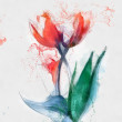 Red hand drawn tulips sketch — Stock Photo