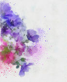 Abstract purple hand drawn flowers — Stock Photo