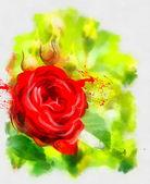 Handmade red rose on light green — Stock Photo
