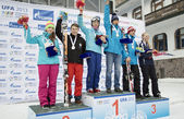 Winners of VI international childrens winter games from UFA — Stock Photo
