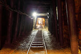 Mine with railroad track - underground mining — 图库照片