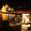 Budapest - Hungarian parliament and chain bridge. — Stock Photo #18281403