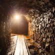 Mine tunnel with path - historical gold, silver, copper mine — Zdjęcie stockowe