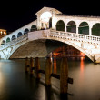 Along Rialto Bridge, Venice at Night — Stock Photo