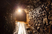 Mine tunnel with path - historical gold, silver, copper mine — Foto de Stock