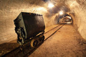 Underground train in mine, carts in gold, silver and copper mine — 图库照片