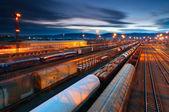Gare de marchandises avec des trains — Photo