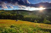 Beautiful mountain nature with sun — Stock Photo